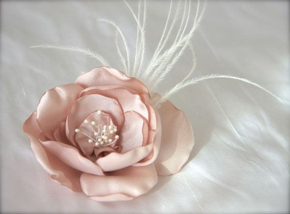 Blush pink, vintage dusty pink Wedding Hair Fascinator Flower Feathers Bridal by GracefullyGirly, $38.00