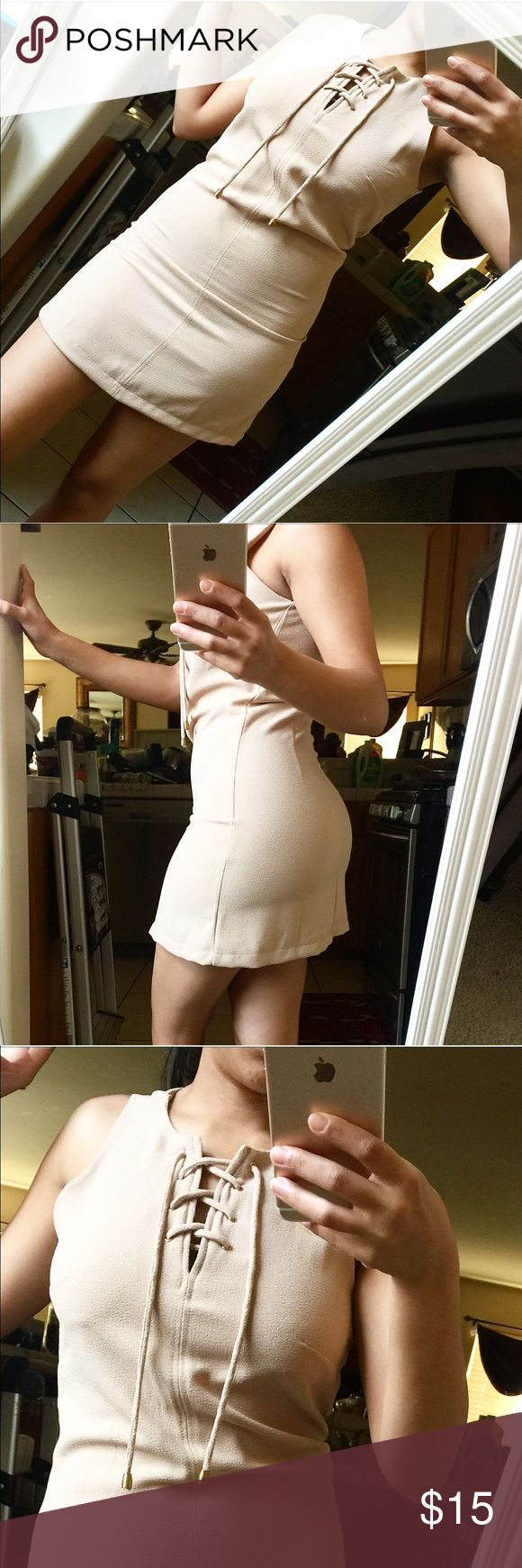 Beige Dress❤️ Beautiful and worn once for a special occasion. Gorgeous! Ties in the front and zips on the side. Would not recommend this for someone with bigger hips, butt or thighs because the material does not give! Dresses Mini