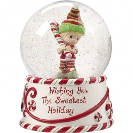 """""""Wishing You The Sweetest Holiday"""", Second in Annual Elf Series Musical Snow Globe, Resin/Glass"""
