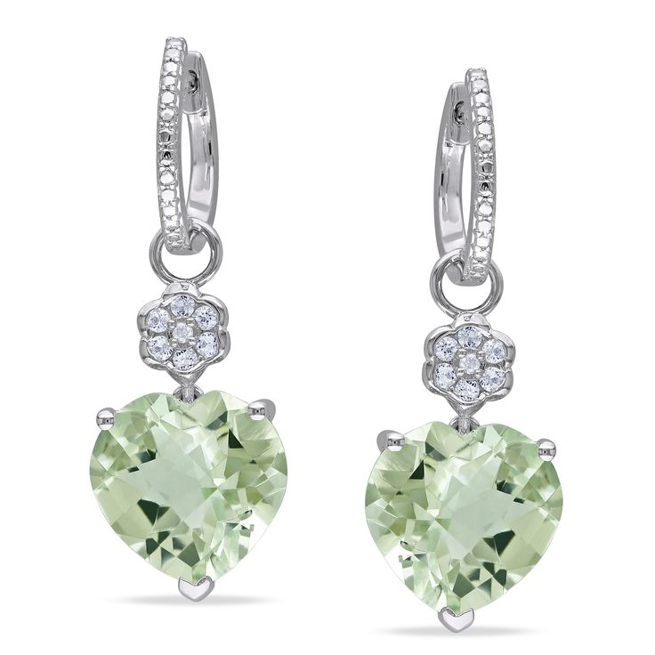 These earrings from the Miadora Gemstones Collection feature heart-cut green amethyst stones and round-cut white topaz stones with round white diamonds. This classic pair of earrings is set in sterling silver and is secured with clip-in backs.