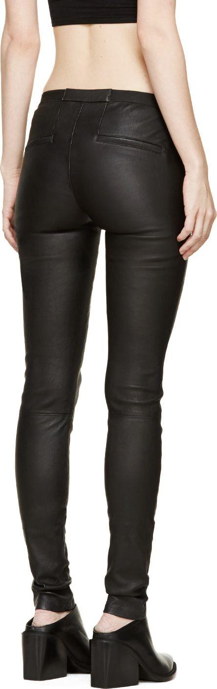 Helmut Lang Black Stretch Leather Plonge 2 Leggings
