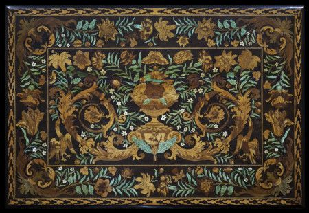 Top of a table veneered with floral marquetry, attributed to Gerrit Jensen, c. 1672-83 (NT114043), at Ham House. ©National Trust Images/John Hammond