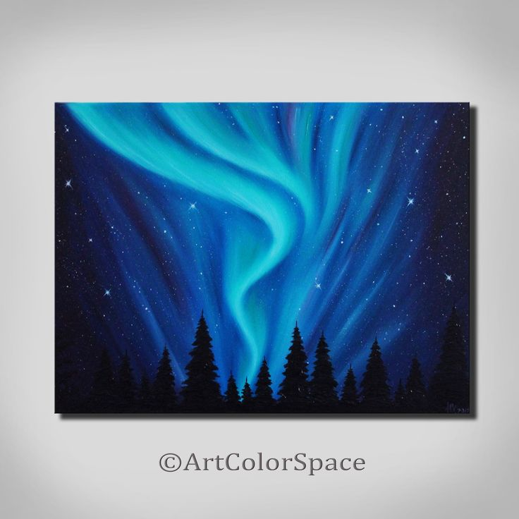 Starry night Aurora borealis painting Night sky Wall art ...