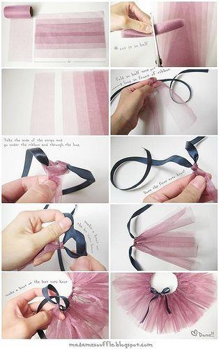 Такую юбочку можно быстро сделать без шитья с помощью лент или полосок любой ткани.