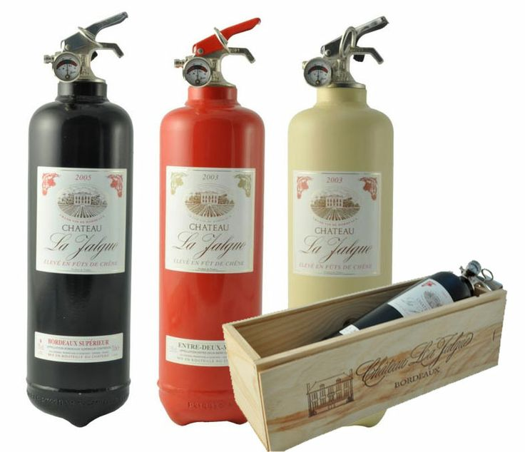 Designer fire extinguishers disguised as wine bottles.