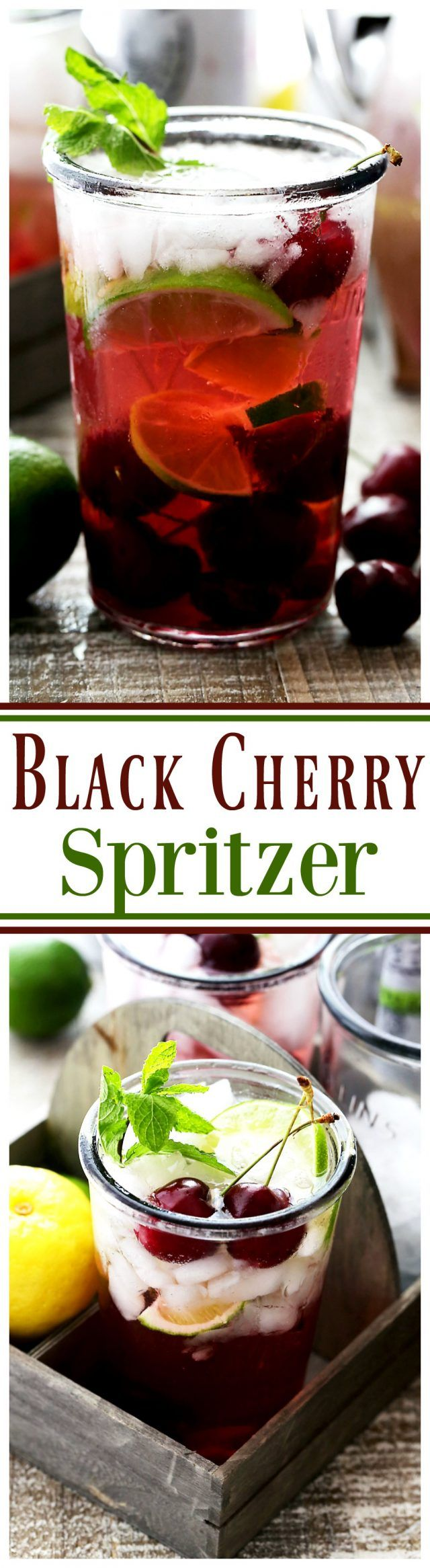 Black Cherry Spritzer - A sweet and refreshing mixture of homemade cherry syrup paired with a black cherry flavored seltzer water. Serve this up at your next summer gathering and watch it all disappear! #ad