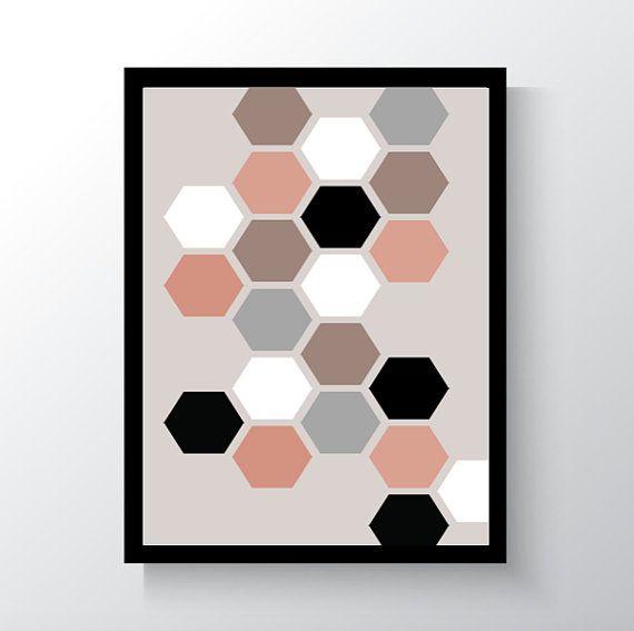 Digital Print Hexagons Wall Art Printable Art by DropOfSunPrints