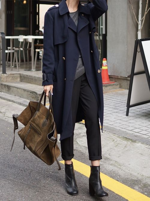 navy trench, cropped pant, suede bag & ankle boots #style #fashion #streetstyle