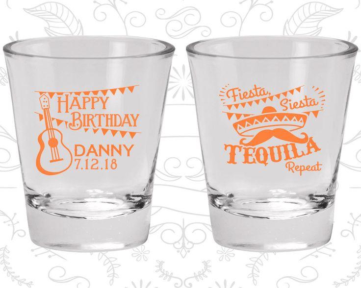 Happy Birthday Shot Glasses, Fiesta Siesta Tequila Repeat, Mexican Birthday Shot Glasses, Fiesta Birthday Shot Glasses (20033)