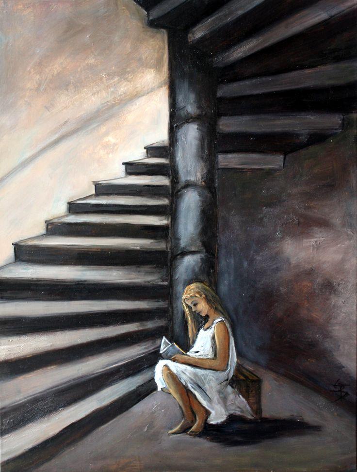 l'escalier, huile 43 x 58