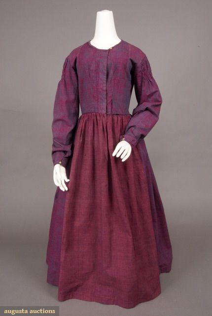 French checked cotton work dress c. 1840.  From the Tasha Tudor Historic Costume Collection.