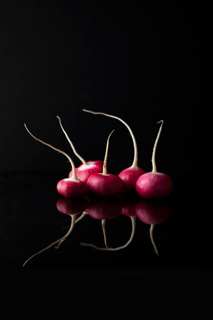 a handful radish | vegetables: radish . Gemüse: Radieschen . légumes: radis | Food. Art + Style. Photography: Food on black by Araceli Paz |