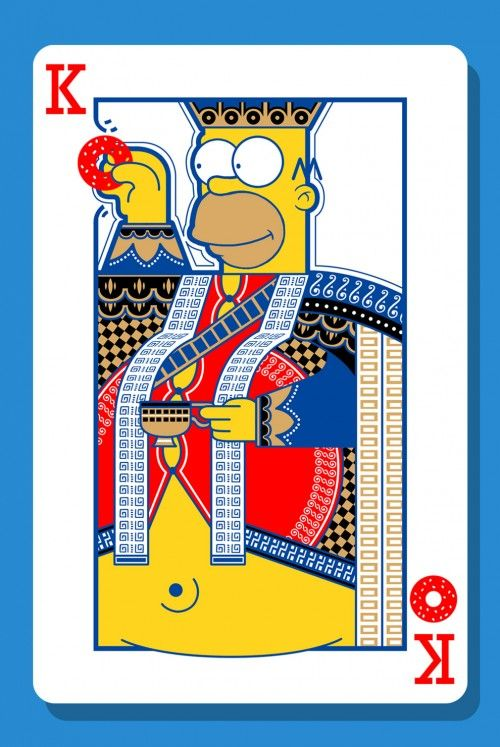 """Homer Simpson Playing Card"" - The Simpsons as Playing Cards by Charles AP http://whatanart.com/2014/01/22/simpsons-playing-cards-charles-ap/"