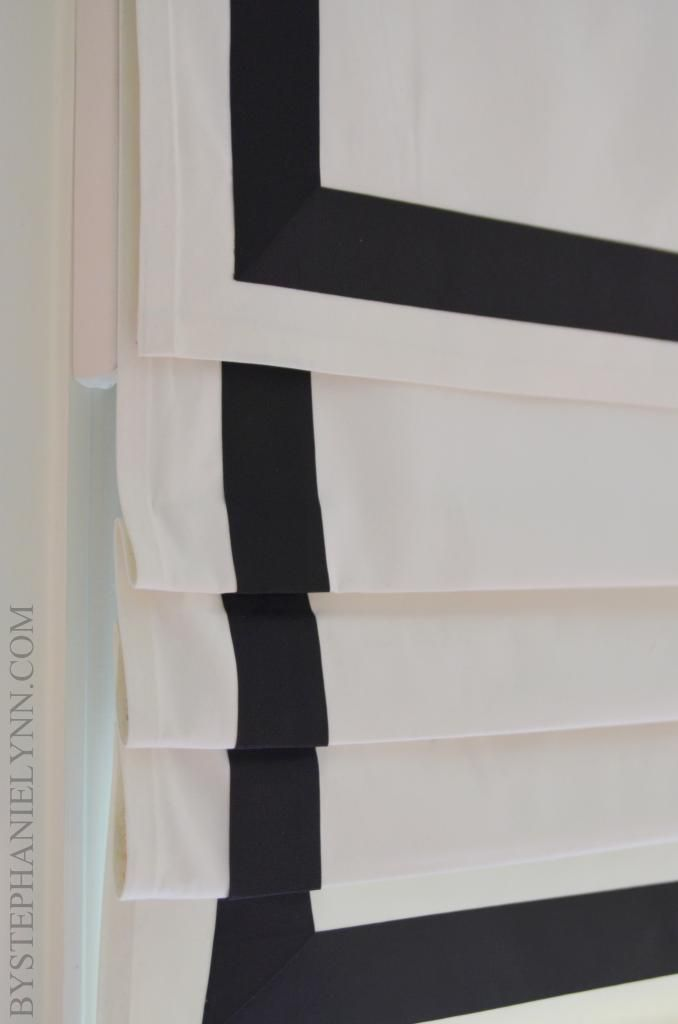 | P | DIY Roman Shade with very thorough instructions. http://www.bystephanielynn.com/2013/04/how-to-make-a-no-sew-fixed-roman-shade-with-valance.html