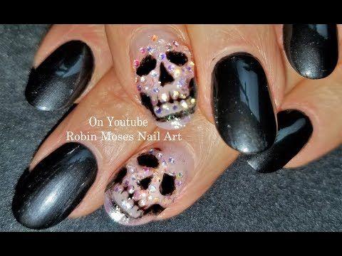 Crystal Skull Nail! DIY Easy and Elegant Halloween Art Design Tutorial - YouTube
