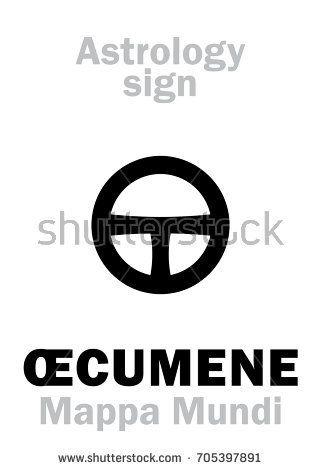 Astrology Alphabet: ŒCUMENE (Mappa Mundi). Hieroglyphics character sign (single symbol).