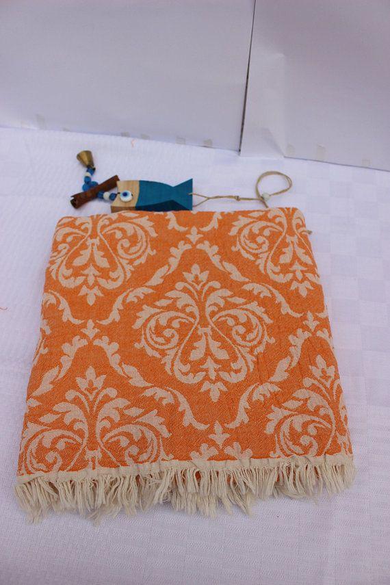 Orange Turkish Towel Damask Peshtemal Set Turkish Beach Towel Hammam Towel Reversible Towel