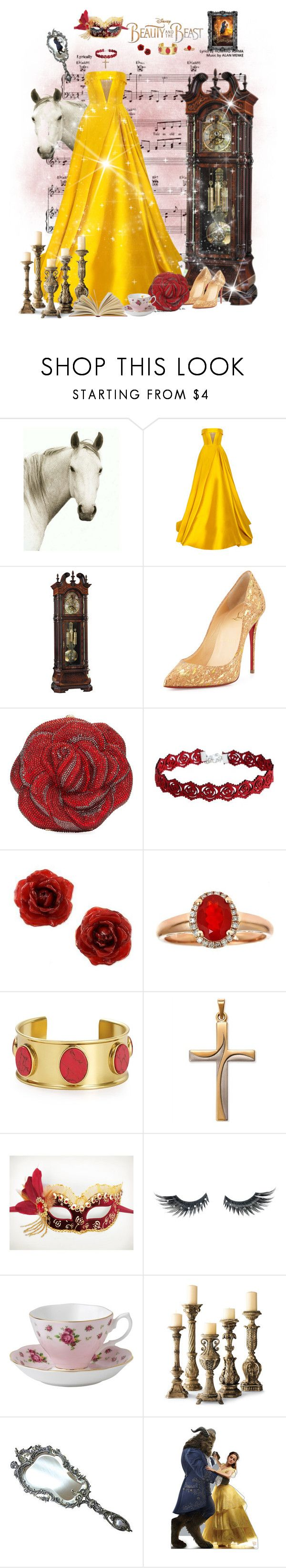 """""""Belle ❤️"""" by tarakaypoly ❤ liked on Polyvore featuring Disney, Natural Curiosities, Alex Perry, Howard Miller, Christian Louboutin, Judith Leiber, NOVICA, Anika and August, Kate Spade and Masquerade"""