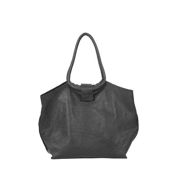 Borsa in pelle di cuoio nero borsa donna borsa tote in
