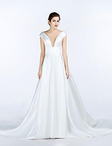 A-line Wedding Dress Chapel Train V-neck Satin with Pocket 5086911 2016 – $109.99