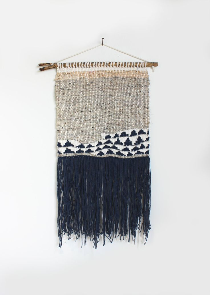 Navy Abstract Weaving Woven Wall Hanging: Made by hellohydrangea
