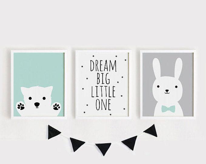 Druckbare Kindergarten Kunst Set von 2 Poster Baby Zimmer Wandkunst Kinderzimmer Dekor Mint und grauer Bär Bunny Print 8 x 10, A4, A3, 40 x 50 INSTANT DOWNLOAD