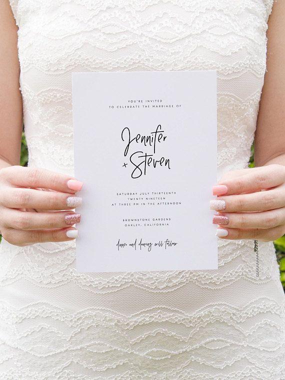 Modern Wedding Invitation Template Printable Wedding