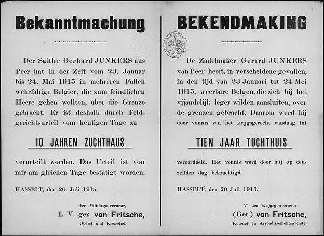 20 juli 1915 Veroordeling zadelmaker Junkers voor het over de grens brengen van mannen die zich bij het Belgisch leger willen aansluiten by ...