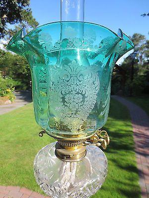 ORIGINAL-VICTORIAN-VERITAS-GREEN-GLASS-ACID-ETCHED-TULIP-DUPLEX-OIL-LAMP-SHADE