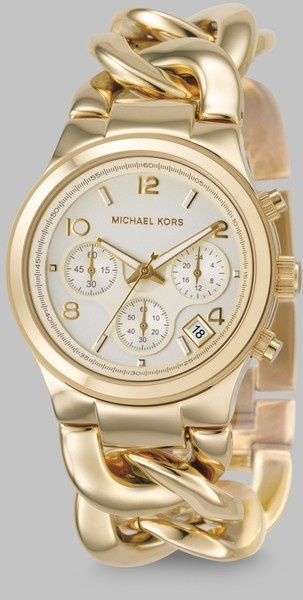 Gold Ip Stainless Steel Twist Chain Watch