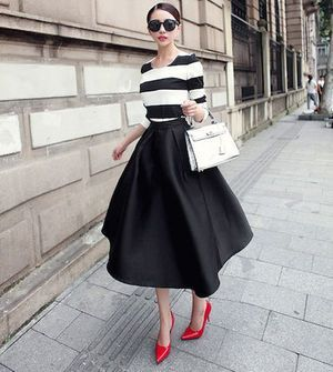 Striped top and full skirt