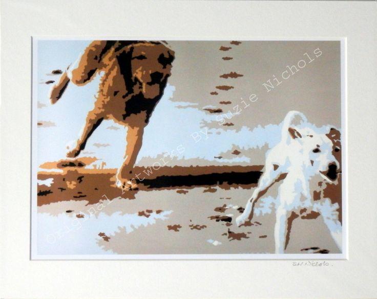 Beach Dogs Giclee Print- Quality A4 Giclee Print by Artist Suzie Nichols, dog, art, painting, pop art - pinned by pin4etsy.com