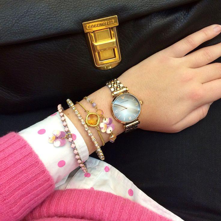 Floral wrist with Luli Art Bijoux bracelets