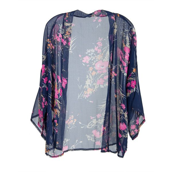 Short Sleeve Chiffon Floral Kimono Navy ($22) ❤ liked on Polyvore featuring jackets, cardigans, outerwear, tops and kimono
