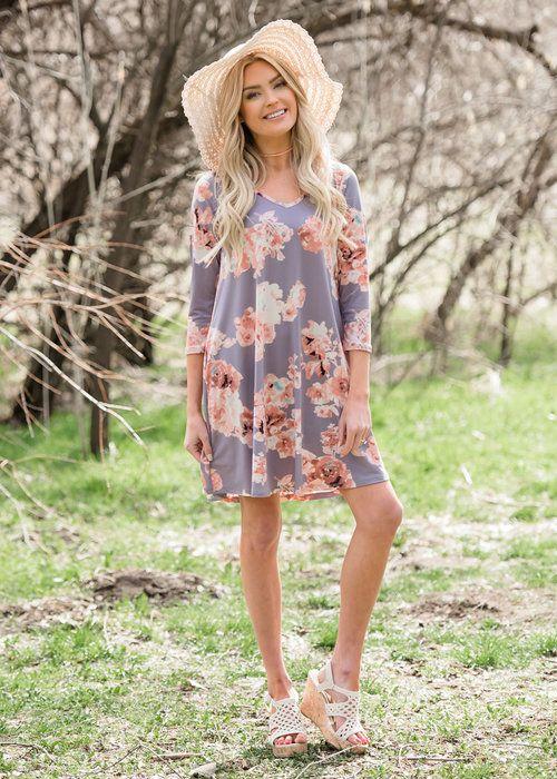 Basic Lavender Floral Short Dress Boutique Online Womens Modern Vintage