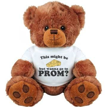 Customize a punny funny prom bear to ask someone out to high school prom or any school dance. Dairy puns on cute teddy bears? Who can say no to that!