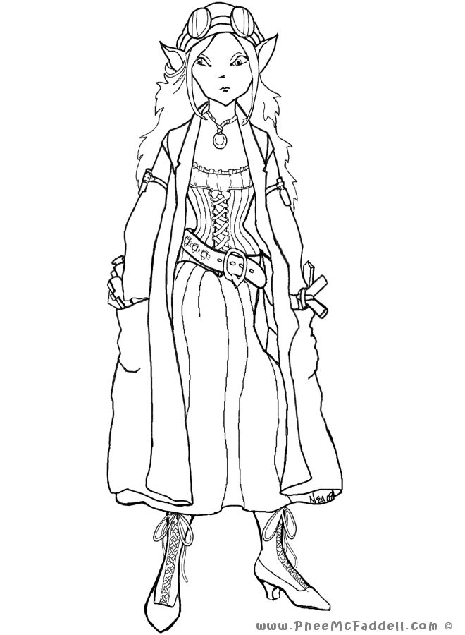 steampunk elf coloring page