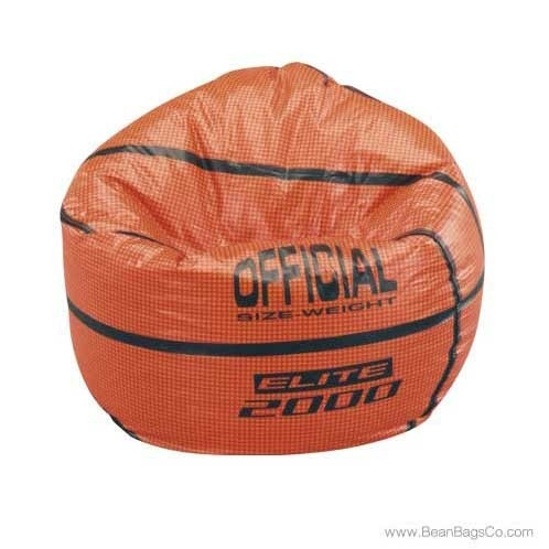 Junior Vinyl Pure Bead Sports Bean Bag Chair   Basketball