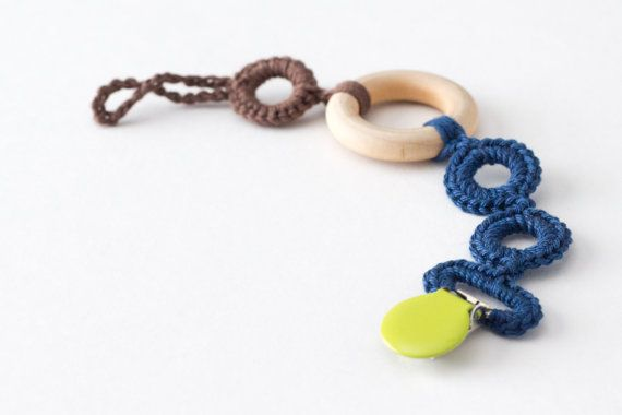 Cotton Yarn Crochet Pacifier Clip with Wooden Teether, Baby Boy Gift, Organic Teether, Pacifier Clip Wood