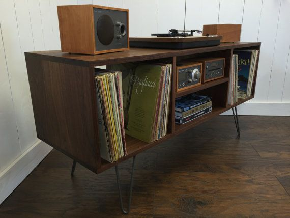 New mid century modern record player console, stereo cabinet with LP album storage featuring black walnut with steel hairpin legs.