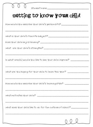 "Grab this ""Getting to know your child"" freebie and a lot of other great back to school resources for first grade teachers from http://thefirstgradeparade.blogspot.com/search/label/Meet%20the%20Teacher."