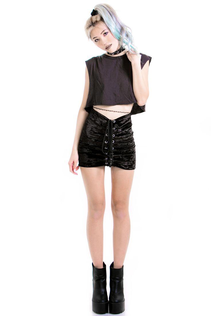 PRE-ORDER: All Shook Up Velvet Grommet Skirt