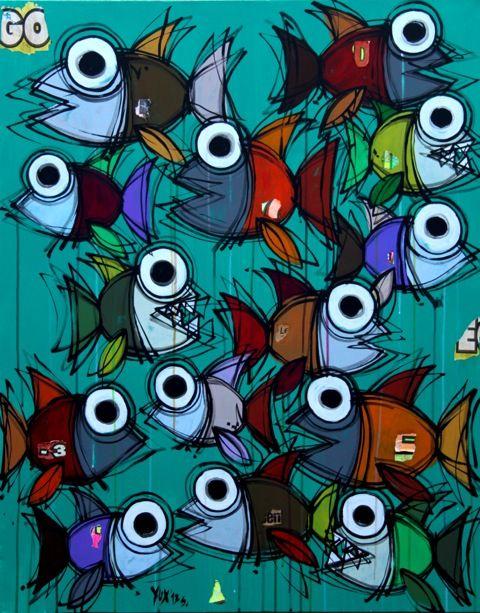 Go Fishes http://www.pisacanearte.it/index.php/artisti/y/yux/yux-go-fishes-acrilico-pastelli-a-cera-e-manifesti-su-tela-80x100-cm.html