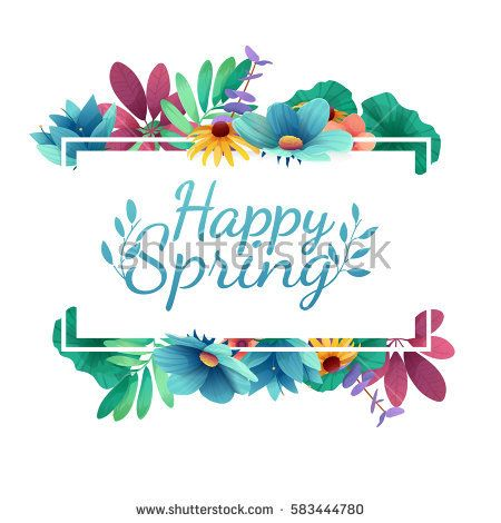 Design banner with  Happy spring logo. Card for spring season with white frame and herb. Promotion offer with spring plants, leaves and flowers decoration.  Vector