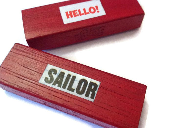 HELLO SAILOR fridge magnets RED Retro Pin Up Decor Unique Gift Idea - pinned by pin4etsy.com