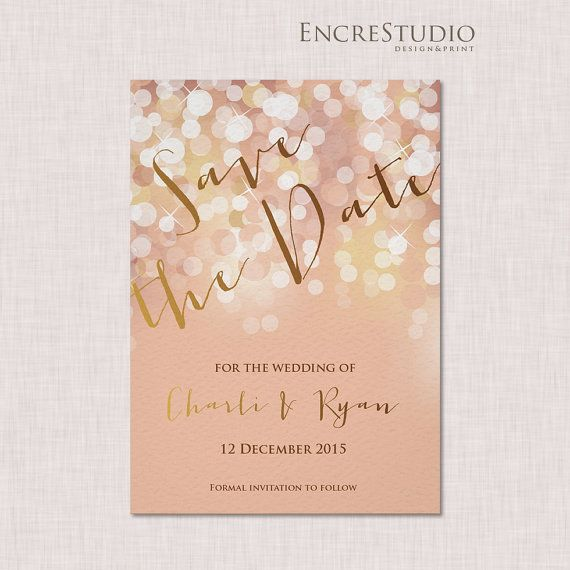 Printable Save the Date Invitation - Gold and Blush Bokeh with Modern Calligraphy