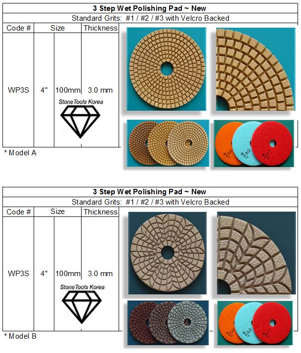 3 Step Wet Polishing Pad For Granite Marble
