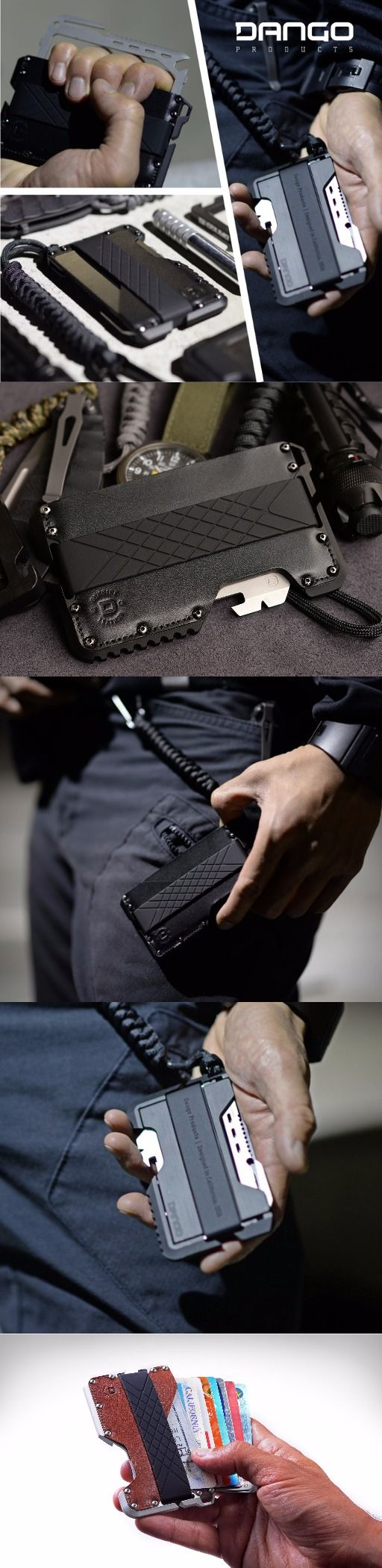 Dango Products TACTICAL MINIMALISTIC FRONT POCKET WALLET + EDC EVERYDAY CARRY MULTI-TOOL in Raw Hide Genuine Leather Raw Aluminum