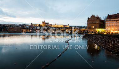 Charles Bridgewide view at dusk Royalty Free Stock Photo