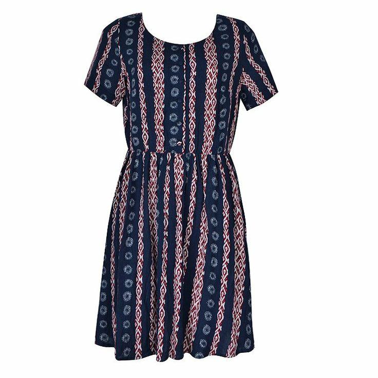 SMOCK DRESS IN AZTEC AND SPOT STRIPE = $24.99